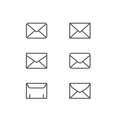 set line icons envelope vector image