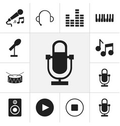 set of 12 editable music icons includes symbols vector image