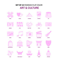 Set of 25 feminish art and culture flat color vector