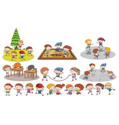 set of children doing activites vector image