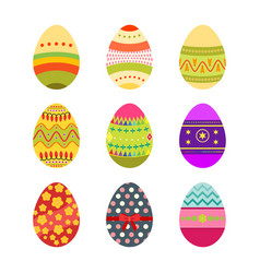 Set of easter eggs with boho design vector