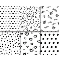 set seamless patterns with hand drawn elements vector image