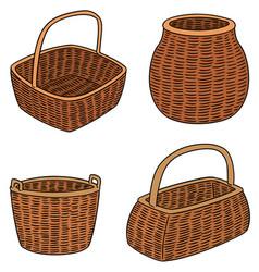 Set wicker baskets vector