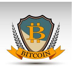 Shield with bitcoin symbol vector