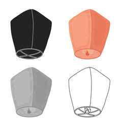 Sky lantern icon in cartoon style isolated on vector