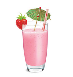Strawberry smoothie or milkshake vector