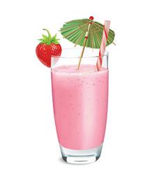 Strawberry smoothie or milkshake vector