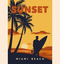 sunset miami beach poster surfing vintage retro vector image