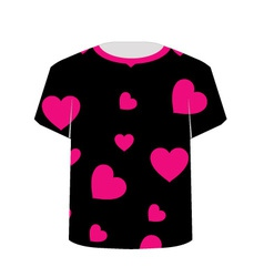 T Shirt Template- Pink hearts vector image