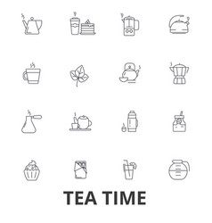 Teatime tea teacup cafe tea party afternoon vector