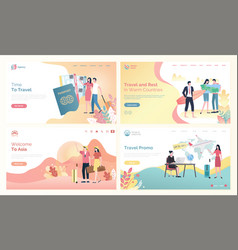 time to travel websites with people destinations vector image
