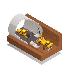 tunnel construction composition vector image