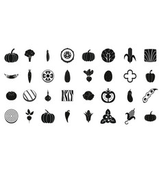 vegetables icon set simple style vector image