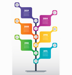 vertical time line infographics with 6 options vector image