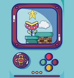 Videogame scenery on retro console vector