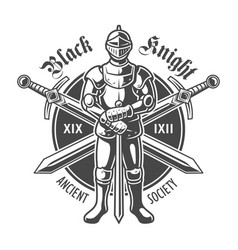 Vintage armored medieval knight logotype vector