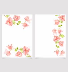 watercolor pink bougainvillea wedding invitation vector image