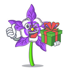 With gift columbine flower mascot cartoon vector