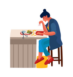 Woman at home cartoon female embroiders or glues vector
