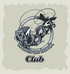 worm on hook logo a club or team vector image