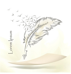 writing old feather with flying birds vector image
