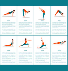 Yoga postures set sporty woman color banner vector