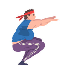 Young overweight man doing squats weight loss vector