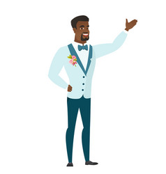 african-american groom showing a direction vector image vector image