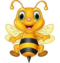 Cartoon funny bee flying isolated vector image