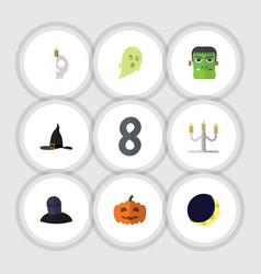 flat icon halloween set of crescent phantom vector image vector image