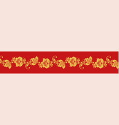 gold and red hohloma seamless decoration vector image