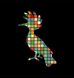 hoopoe bird mosaic color silhouette animal vector image vector image