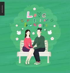love spring bench letetring and a couple in love vector image