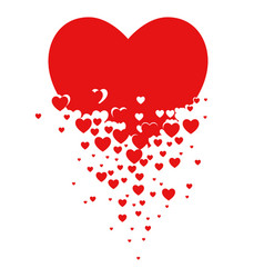 small hearts forming a larger heart shape vector image
