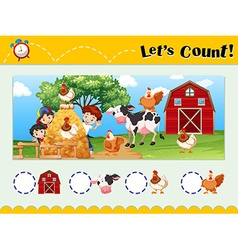 Worksheet design for counting animals vector image