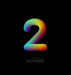 3d iridescent gradient number 2 vector image