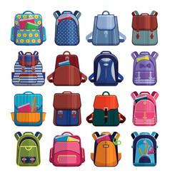 cartoon kids school bags backpack back to school vector image