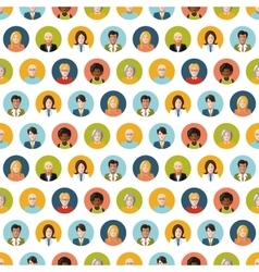 Crowd of round flat people avatars seamless vector image