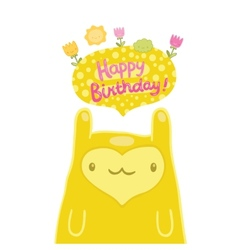 Cute monster Happy Birthday card vector image