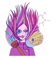 girl symbolizes the zodiac sign sagittarius vector image vector image