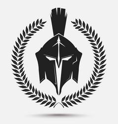Gladiator helmet with laurel wreath vector image