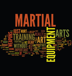 martial art equipment text background word cloud vector image vector image