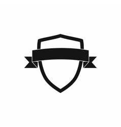 White shield with black ribbon icon simple style vector image