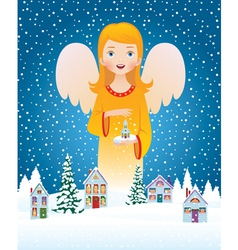 Blessing of Christmas angel vector image