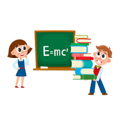 boy and girl at physics lesson in school vector image vector image