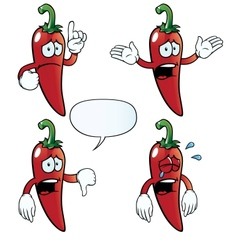Crying chili pepper set vector image vector image
