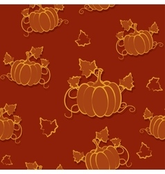 Autumn seamless pattern with pumpkin vector image