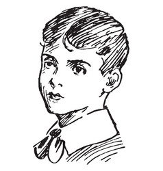 Boy wearing collar shirt vintage engraving vector