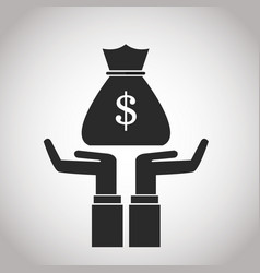 hand with bag money cash banking pictogram image vector image