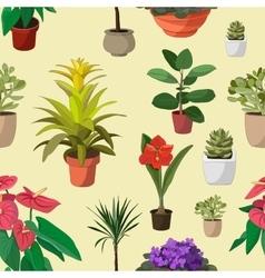 Houseplants set pattern vector image